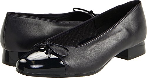 ara Women's Bel Ballet Fat,Navy Leather With Patent Tip,9.5 N US