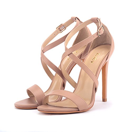 Heels Women ZriEy Cross 11CM Wedding Sandals Nude Bridal Open Shoes Party Toe Stiletto High Strappy SYqxwZHgq
