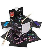 ARTEZA Notas de scratch art   8,9 x 8,9 cm   202 notas para rascar   200 color arcoiris + 2 con diseño del espacio + 2 rascadores + 2 afiladores   Manualidades para niños, aulas y bricolaje