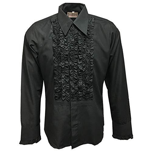ZenRetro Mens Ruffle Ruche Frill Tuxedo Shirt Black L