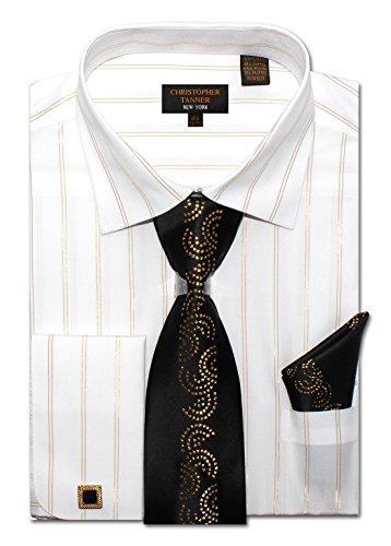 Christopher Tanner Mens Regular Fit Metal Stripe Dress Shirts with Metal Fabrication Tie Hankerchief Cufflinks Combo