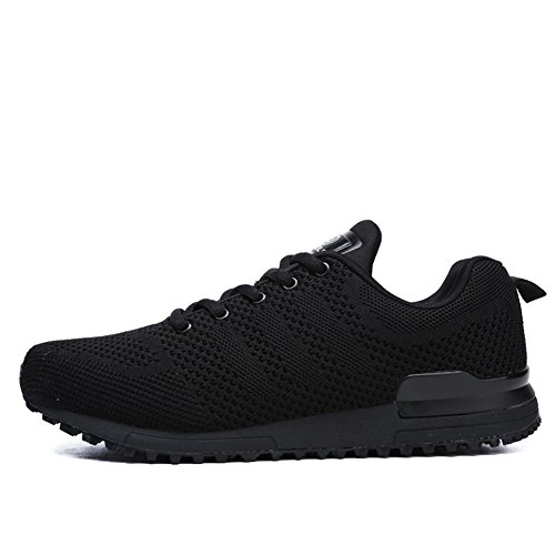 HOOH Mens Sneakers Comfortable Breathable Lightweight Jogging Athletic Running Shoes Black QTqgv