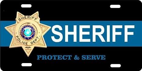 ATD® diseño llc. Novelty licencia placa sheriff proteger y servir Auto Placa: Amazon.es: Coche y moto