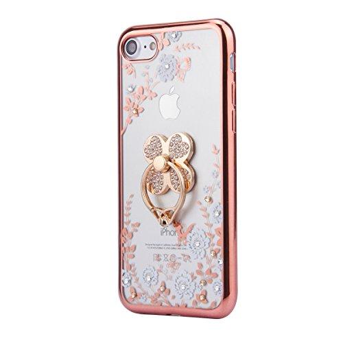 iPhone 6S Hülle,iPhone 6 Hülle,iPhone 6/6S Hülle Silikon Glitzer,SainCat Weiße Blumen Muster Silikon Hülle Tasche Handyhülle Bling Diamant Clover Strass Ring Rose Gold Schutzhülle Transparent TPU Gel