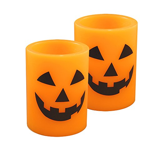 LumaBase 92902 2 Count Jack O' Lantern Battery Operated LED Candles, Orange/Black