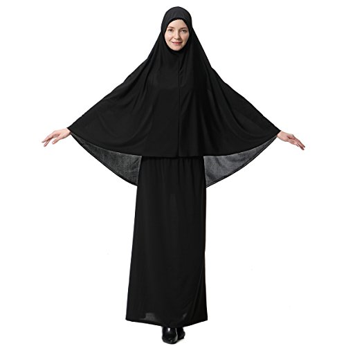 Muslim Dresses for Women Two-Piece Full Length Dress Hijab Suit Abaya Scarf Dress Robe Gown Prayer Sets