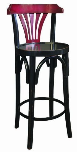 Grand Hotel Bar Stool De Luxe in Black - Bar Stool with Back - Features Cherry and Maple Wood in Distressed Black and Red Finish - Authentic Models MF044 by Authentic Models