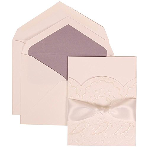 JAM Paper® Wedding Invitation Set - Large - 5 1/2'' x 7 3/4''- White Card with Orchid Lined Envelope and Flower Cloud Ribbon Set - 50/pack by JAM Paper