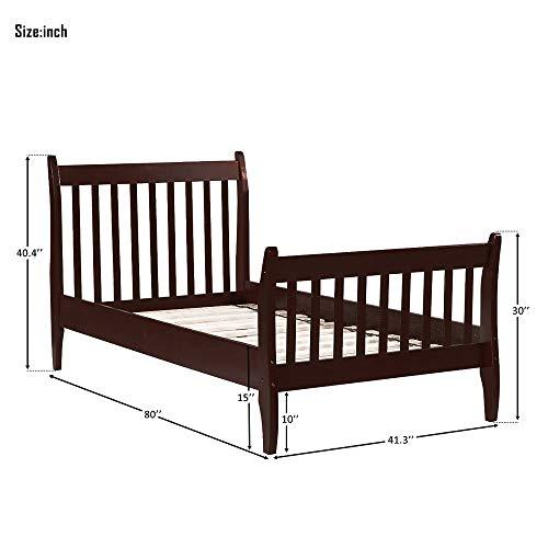 Harper & Bright Designs Twin Bed Frame Wood Slats Platform Twin Size Bed Frame with Headboard, No Box Spring Required Single Platform Bed Frame for Kids Espresso