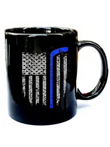 Thin Blue Line American Flag - Funny Gift Black 11oz Ceramic Coffee Mug