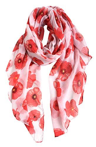 GERINLY – Lightweight Poppy Flower Print Oblong Scarf (White)