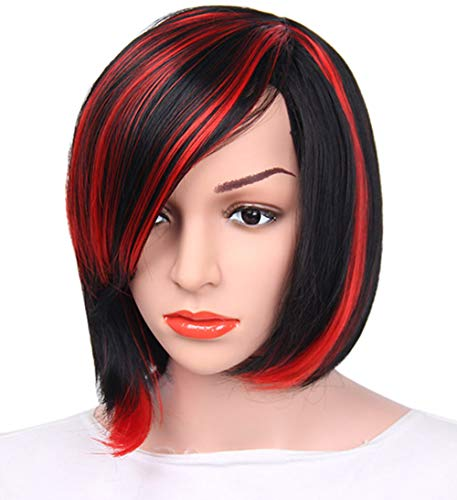 aSulis Wigs Short Hair Wigs Red Highlight Straight Synthetic Wig Colorful Wig Daily Wig ¡­