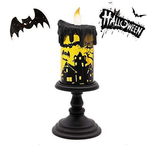 GiveU Spinning Bat Tornado Lamp,Battery Operated Water Glittering Table Centerpiece ,Led Flameless Candle with Timer for Halloween Party and Home Decoration, Black (Shade Lamp Spinning)