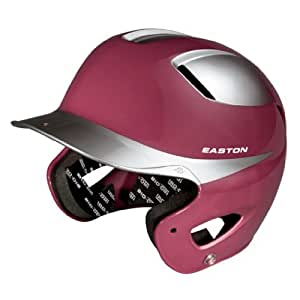 Easton Natural Two-Tone Junior Batting Helmet, Maroon/Silver