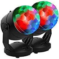 【New Arrival-6 Light Bulbs】Party Lights Sound Activated Disco Ball Strobe Light 7 Lighting Colors, USB/Battery Powered, Perfect for Kids, Festival Celebration Birthday Xmas Party-No remote included