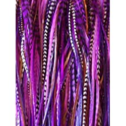 """5 Feathers in Total NEW 7""""-11"""" Feather Hair Extension Long Thin Dark Purple,Violet ,Black & Grizzly"""