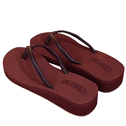 lisianthus002Mujer Webbing Flip Flop Summer Wear cuña Thongs sandalias Marrón - marrón