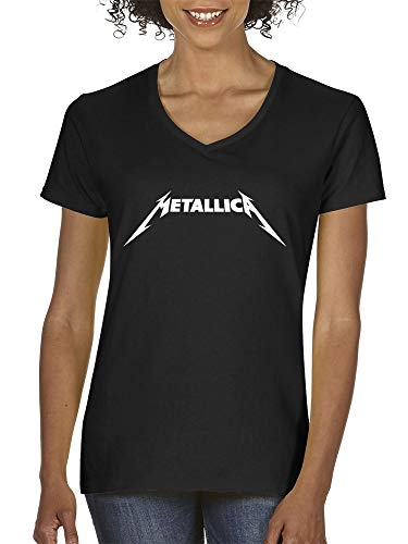 New Way 925 - Women's V-Neck T-Shirt Metallica Metal Rock Band Logo XS Black ()
