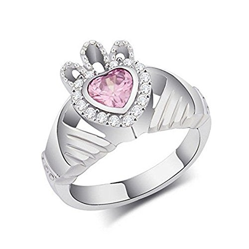 [Litter Star Europe And America Movie Leap Year Heart Pink Cz Crystal Rings Claddagh Ring Titanium Steel Rings Carats Of Heart-Shaped Microscope Color Crystal Rings Diamond Ring Size 6] (Movie Star Costumes For Couples)