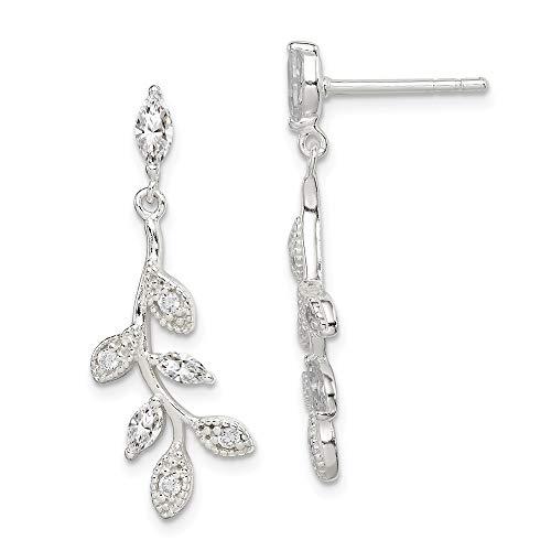 925 Sterling Silver Cubic Zirconia Cz Leaf Drop Dangle Chandelier Post Stud Earrings Flower Gardening Fine Jewelry Gifts For Women For Her