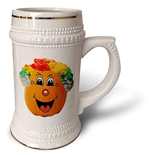 3dRose Sandy Mertens Halloween Food Designs - Jack o Lantern Funny Clown Face Halloween Pumpkin, 3drsmm - 22oz Stein Mug (stn_290217_1) -