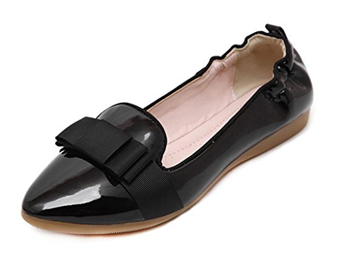 Comfort CAMSSOO Shoes Leather Low Women's On Loafer Slip Heel Black Toe Patent Solid PU Patent Flats Round wCXRqwBr