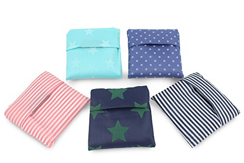 Finex - Set of 5 - Patterned Foldable Reusable Recycling Shopping Tote Bag Travel Totes Recycle Grocery Bags -Various Color (Stripes, stars, polka dots)