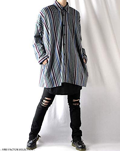 ビッグシルエット メンズ シャツ ストライプシャツ 大きいサイズ シャツジャケット ロング丈 春 秋 冬 韓国