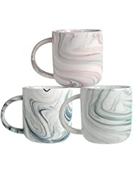 Ceramic Marbled Mug Set of 3, 16-Ounce Coffee Mug set, Assorted Colors