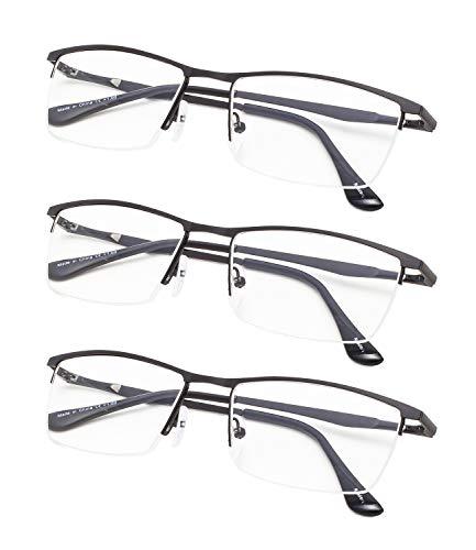 Half-Rim Reading Glasses 3-Pack with Spring Hinges Black+1.75