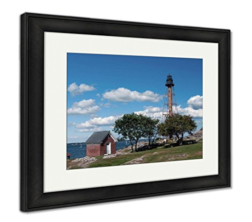 Ashley Framed Prints Marblehead Lighthouse in Park in Massachusetts, Wall Art Home Decoration, Color, 26x30 (Frame Size), Black Frame, ()
