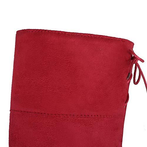 Bottes Fermeture Lacet À gmbxb127554 Haut Suédé Talon Femme Rouge D'orteil Agoolar pxq8ZTawa