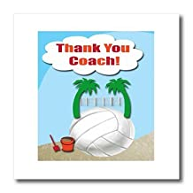 ht_108425_1 Beverly Turner Sport Design - Thank You Volleyball Coach, Palm Trees on Volleyball - Iron on Heat Transfers - 8x8 Iron on Heat Transfer for White Material