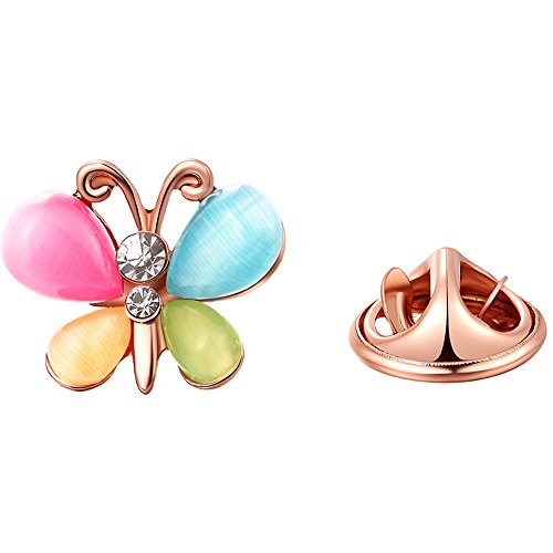 Multi Color Butterfly Brooch (Ladies Fashion Elegant Gold Plated Created Opal Rhinestone Multicolor Butterfly Cute Brooch Pin for Women Girls)