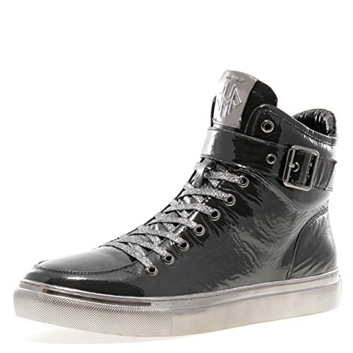 Jump Newyork Men's Sullivan Black Patent Round Toe Metallic Reptile Stamped Leather Lace-Up Inside Zipper and Strap High-Top Sneaker 10 D US - Patent High Top Black