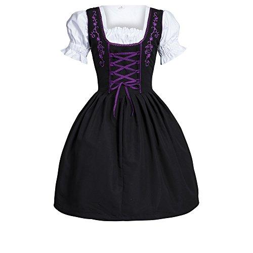 porpora vestito 46 3 formato 34 Dirndl camicia gonna nero pezzi Dirndl EPWxqSwvq