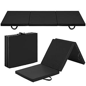 Best Choice Products 6x2ft Tri Fold Foam Exercise Gym Floor Mat for Yoga, Aerobics, Marital Arts w/Handles Black