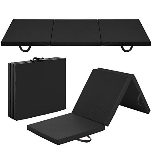 Best Choice Products 6x2ft PU-Leather Foam Exercise Fitness Tri-Fold Gym Floor Workout Mat for Gymnastics, Aerobics, Yoga, Martial Arts, Pilates w/ 2 Handles - Black