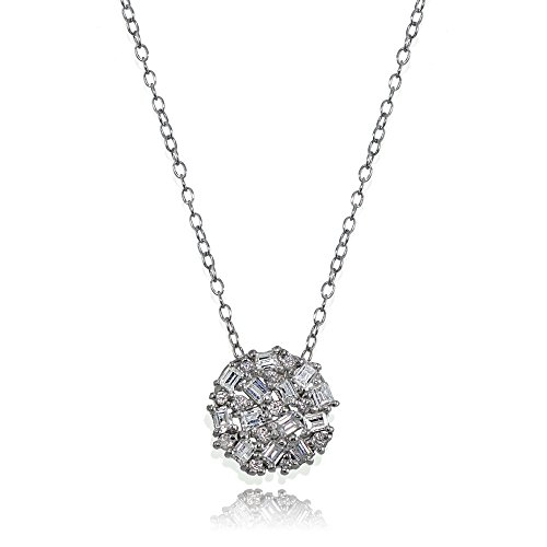 (Hoops & Loops Sterling Silver Baguette and Round-Cut Cubic Zirconia Cluster Round Circle Pendant Necklace)