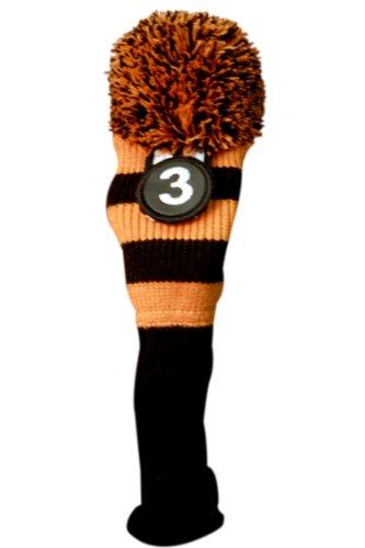 Majek #3 Fairway Metal Wood Black & Orange Golf Headcover Knit Pom Pom Retro Classic Vintage Head Cover