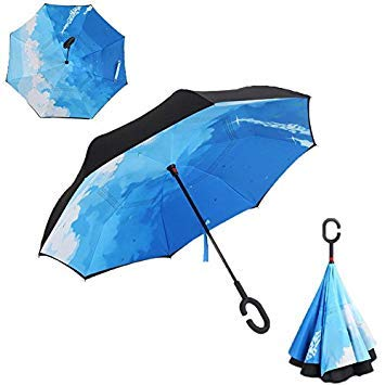 Inverted Reverse Folding Umbrella For Womens Double Layer Windproof Anti-uv Sun Umbrella C-hook Hands Self Stand Parapluie Home