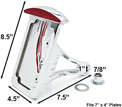 Krator Side Mount Verticle Plate LED Tail Brake Light For Harley Davidson Softail Cross Bones Deuce Rocker