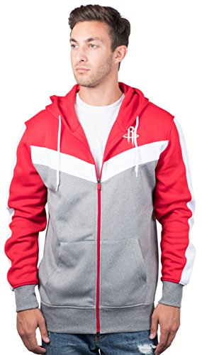 Houston Rockets Men's Full Zip Hoodie Sweatshirt Jacket Back Cut, Small, Red