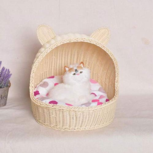 MARIS Rattan Cat Litter Summer Washable Small Pet Nest Cat House Small Dog Kennel,Beige 40x35x35cm