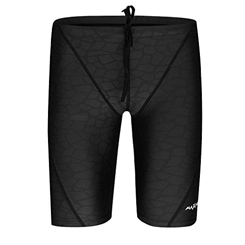 MAXPRESS Men's Imitation Sharkskin Quick Dry Jammer Durable  Polyester Swimsuit, Black, U.S. S/Asian L by MAXPRESS
