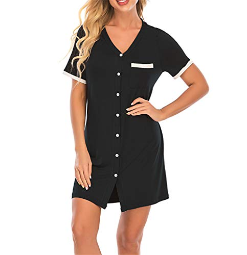 Mother's Day Nightgowns for Women Button Down V Neck Boyfriend Nightshirt Postpartum Pajamas Black S