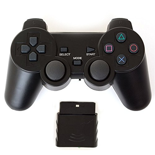 Bowink Wireless Gaming Controller for Ps2 Double Shock - Solid Black