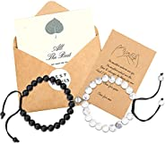 Lanqueen Couples Magnetic Mutual Attraction Bracelets Matte Agate Bracelet Vows of Eternal Love Charms Adjusta