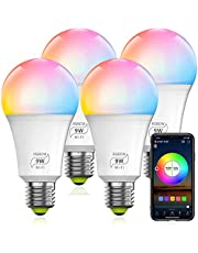 HaoDeng WiFi LED Smart Bulb - Dimmable, Multicolor, Tunable White (Color Changing Disco Ball Lamp) - 9W A19 E27(80W Equivalent), Compatible with Alexa, Google Home Assistant and IFTTT (4Pack)