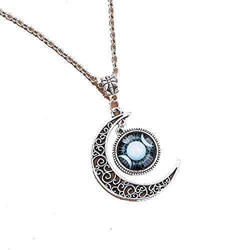 Triple Moon Goddess necklace blue white wiccan pagan wicca chain pendant 4 ()